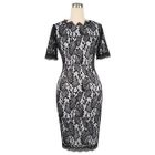 Elbow-Sleeve Lace Sheath Dress 1596
