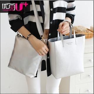Set: Faux Leather Tote + Shoulder Bag 1044632672