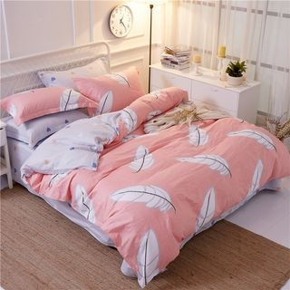 Feather Print Bedding Set: Bed Sheet + Duvet Cover + Pillow Cases 1063601724
