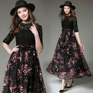 Lace-Panel Maxi Dress 1060259929