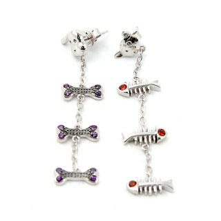 Silver Cat and Dog Dangle Earrings