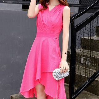 Sleeveless Shirred Dress