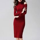 Turtleneck Cold Shoulder Ribbed Midi Dress 1596