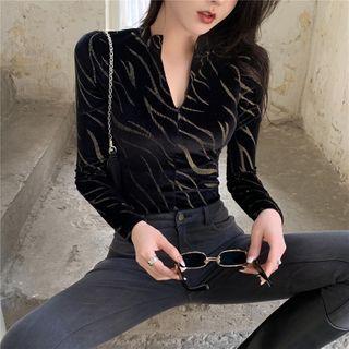 Velvet V-neck Long-sleeve Slim-fit Top