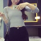 Ribbed Long-Sleeve Knit Top 1596