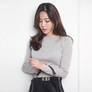 Boat-Neck Slim-Fit Knit Top 1048886018
