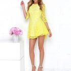 Elbow-Sleeve Lace Panel A-Line Dress 1596