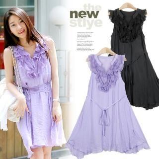 Buy MOUL STYLE Frill-Accent Sleeveless Chiffon Dress 1022821072