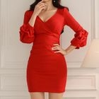 Puff-Sleeve Plain Sheath Dress 1596
