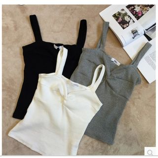Knotted Ribbed Camisole Top 1057835584
