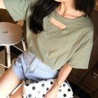 Cutout Neckline Short-Sleeve T-Shirt 1596