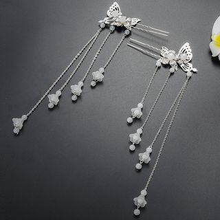 Image of Butterfly Bead Fringed Hair Stick Hair Stick - One Size