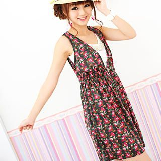 Buy 59 Seconds Sleeveless Floral Zip Dress Charcoal Gray – One Size 1022738270