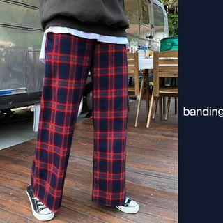Band-waist Wide Plaid Pants