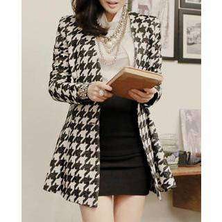 Double-Breasted Houndstooth A-Line Jacket
