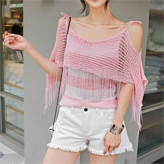 Cutaway-Shoulder Fringed-Trim Knit Top 1060997963