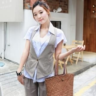 Buy WHITE COOKIE Linen Vest 1022991468
