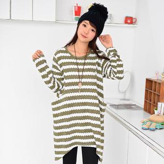 Striped Long Knit Top 1038047177