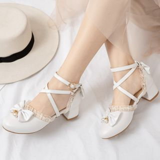 Image of Lace Trim Bow Strappy Block Heel Pumps