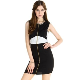 Two-Tone Zip-Front Dress