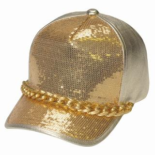 Buy GRACE Chain-Accent Sequined Baseball Cap Gold – One Size 1022173479