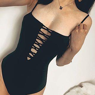 Plain Spaghetti Strap Bodysuit