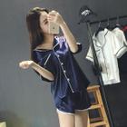 Pajama Set : Piped Short-Sleeve Top + Shorts 1596