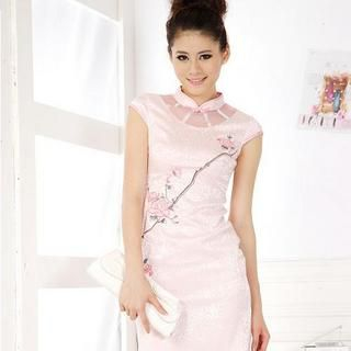 Buy Xunia Tulle-Panel Embroidered Cheongsam 1022955133
