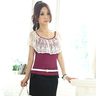 Buy Tokyo Fashion Lace Bertha-Collar Ribbed Top 1023000280