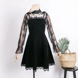 Set: Lace Trim Long-Sleeve T-Shirt + Strappy A-Line Dress 1064779550