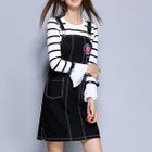 Set: Striped Bell-Sleeve T-Shirt + Embroidered Denim Pinafore Dress 1596