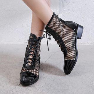 Fishnet | Leather | Short | Boot | Heel | Low