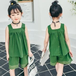 Kids Set : Frilled Sleeveless Top + Shorts 1066425496