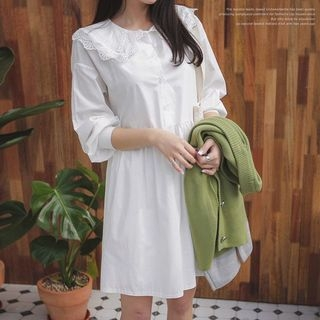 Lace-Collar Half-Placket A-Line Dress 1065494588