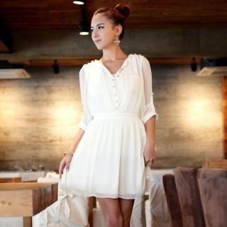 Buy Vanilla French Metallic Button Chiffon Dress 1022576926