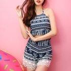 Set: Patterned Bikini + Shorts + Lace Top 1596