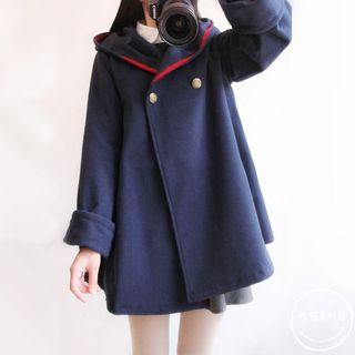 Image of Hooded Toggle Coat / Hooded Double-Breasted Coat