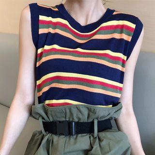 Striped Sleeveless Top 1067727604