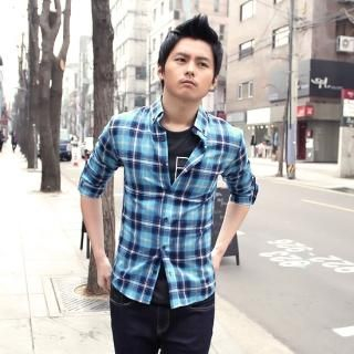 Buy ITSBOY Roll-Up Sleeve Plaid Shirt 1022398691