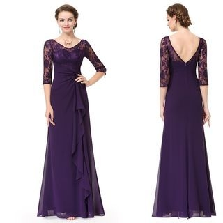 Elbow-Sleeve Lace Panel Evening Gown 1057486729