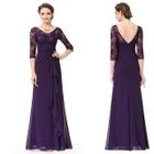 Elbow-Sleeve Lace Panel Evening Gown 1596