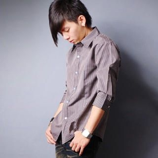 Picture of SLOWTOWN 3/4-Sleeve Striped Shirt 1023008958 (SLOWTOWN, Mens Shirts, China)