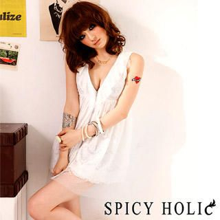 Buy SPICY HOLIC Lace Layered V-Neck Dress White – One Size 1022747288