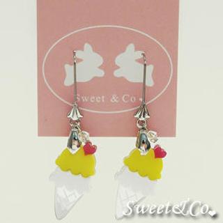 Mini Lemon Ice-Cream Silver Earrings