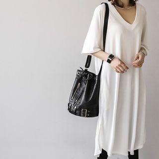 V-Neck Elbow-Sleeve T-Shirt Dress 1057376933