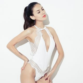 Image of Halter Lace Panel Open Front Bodysuit