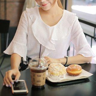 linen-blend-ruffled-blouse
