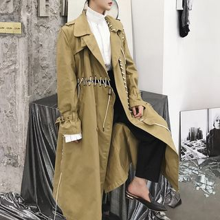 Image of Lace-Up Buttoned Long Coat