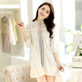 Lace Panel Open Knit Cardigan 1060035138
