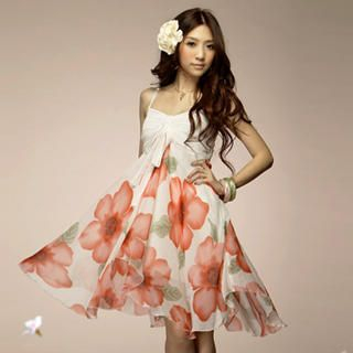 Buy Tokyo Fashion Sleeveless Floral Print Chiffon Dress 1022508581